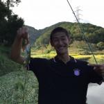 初バス釣り上げた北田さん